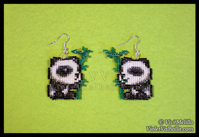 Panda Bead Earrings by VioletValhalla