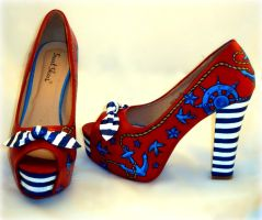 hand painted rockabilly nautical striped heels by Lucifairy7
