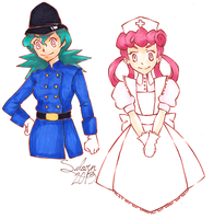 Constable Jenny and Nurse Joy WIP by zombieblood