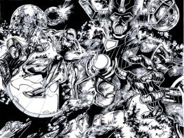 Silver Surfer and Galactus by DaveLungArt