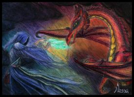 Fight of Wizard with Dragon by Nessa293