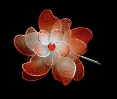 Orange Fabric Flower Silver Hairpins by crystaland
