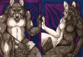 ACEOs - A wolf and his wolfess by CunningFox