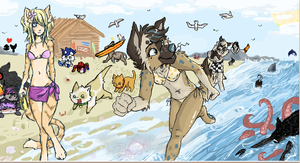 Furry beach party! by Miorathein