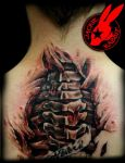 Spine Tear-out Tattoo by Jackie Rabbit by jackierabbit12