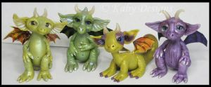 Handmade Polymer Clay Dragons by KabiDesigns