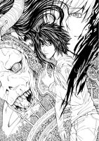 Death Note - L confusion BnW by GhoulSoul