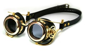 Steampunk goggles (polished brass) by AmbassadorMann