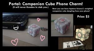 Companion Cube Phone Charm by The-Tenshi-Store