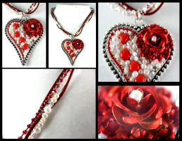 Silver Heart Red Rose Leather Necklace by DryGulchJewelry