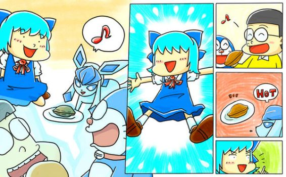 Nobita and Glaceon and Cirno and Doraemon by pqh5703