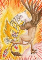 Fleetway Sonic vs Gilda the Griffon by SoulEaterSaku90