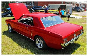 Sharp Red Mustang Rearview by TheMan268