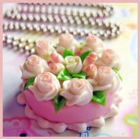 Wedding Rose Cake Necklace by cherryboop