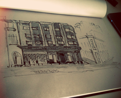 Bauhaus building in Athens sketch by AnnaKontou