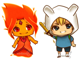 AT: Chibi FP and Finn by aeriuu-kun