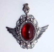 Steampunk wings pendant by Pinkabsinthe