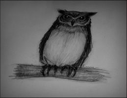 Owl sketch by Kazuren