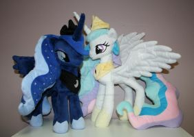 Celestia and Luna plushies by Yukamina-Plushies