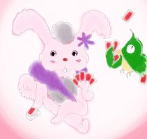 AC#110 Bunny and Parrot Poker by moonlitstarrynight