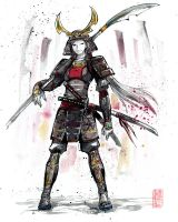 Samurai Girl in Armor Sumie style by MyCKs