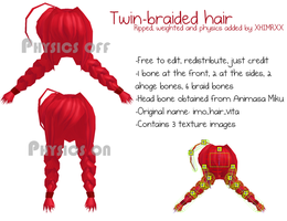_MMD_ Twin-braided hair _DL_ by xXHIMRXx
