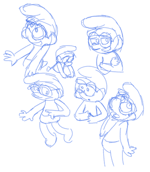 spectacle smurf sketches by EscarlataFox