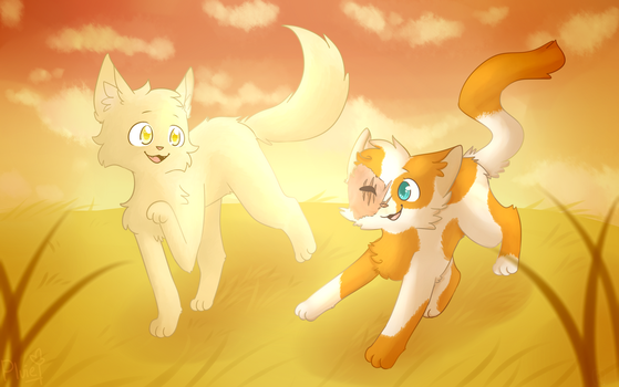 [Collab] Cloudtail and Brightheart by RikoNeko