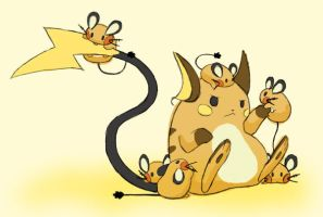 Raichu and Dedenne by Renegade-Rook