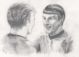Spock smiles by Kitt-Otter