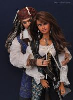 Jack Sparrow and Angelica: Mattel dolls repaints by mary-vassilieva