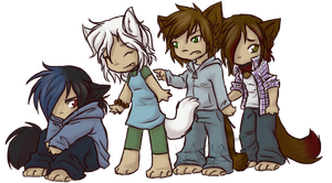 Catboy and Girls by KLFoxglove