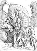 Dragon and lady by Fpeniche