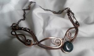 Copper wire wrapped necklace by TangledWorld