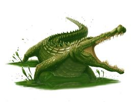Giant Crocodile for Paizo by MichaelJaecks