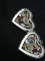 locket - large silver heart - colors by Galasdian