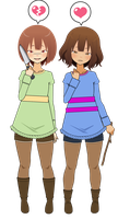 Frisk And Chara [remake+export code] by lovelycow152