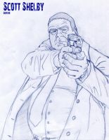 Scott Shelby with gun sketche by McCloy