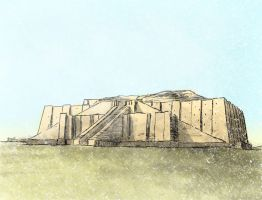 The Nanna Ziggurat at Ur by Bazzelwaki