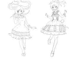 Lolita Girls Lineart by CherryCobbler