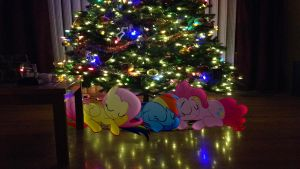 Ponies Sleeping Under The Christmas Tree by Macgrubor