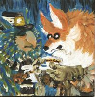 mr.fox and blue bird by TheLaughingChimera