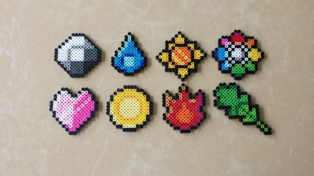 Kanto Gym Badges - Pokemon Perler Bead Sprites by MaddogsCreations