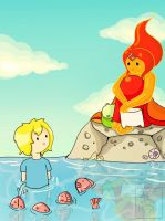 Flame Princess and Finn by lavi-n