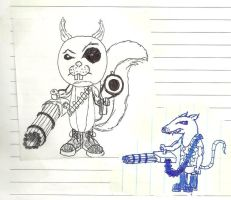 Snyde and Unnamed Squirrel (rodent soldiers) by Aeruhl