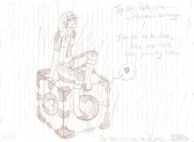 Rain and a Companion Cube by NaziViolinist