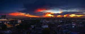 Balcony Sunset Panorama 2 by comsic