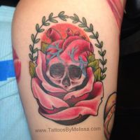 Old school rose skull by Melissa-Capo