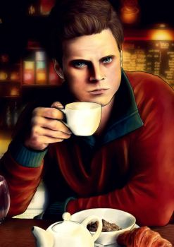 Bucky Barnes in a Coffee Shop by Yocebo
