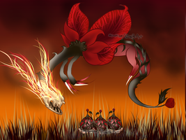 Fire Rose Egg Hatch ~ Black Thorned Floral Dragon! by PeachyPieAdopts